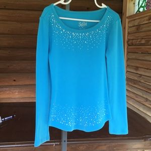 Justice long sleeve sparkly blue shirt size 6